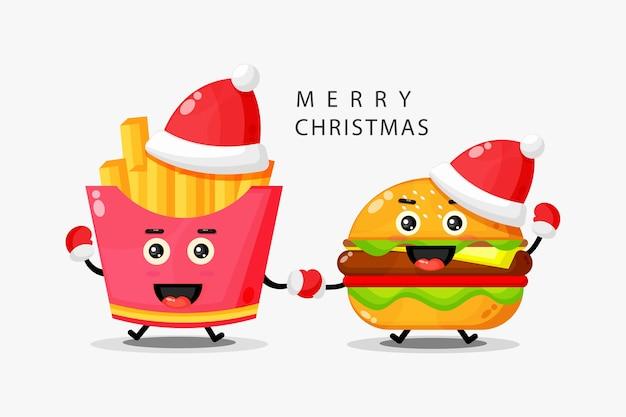 Niedliche pommes frites und maskottchenburger feiern weihnachtstag