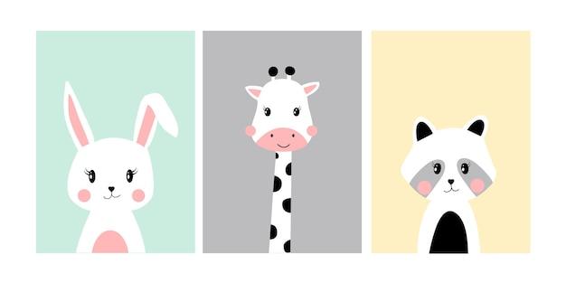 Niedliche poster mit kleinen hasengiraffen-waschbär-vektordrucken für babyzimmer-babyparty