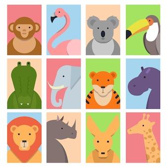 Niedliche quadratische avatare mit wilden tieren