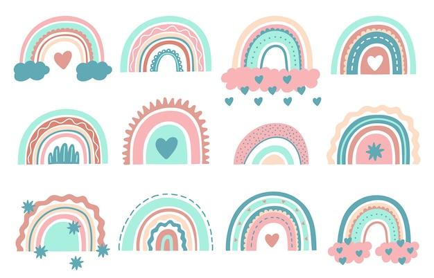 Niedliche regenbogen. gekritzel kindergarten regenbogen mit wolken, kindlichen skandinavischen elementen zum einwickeln oder stoff.