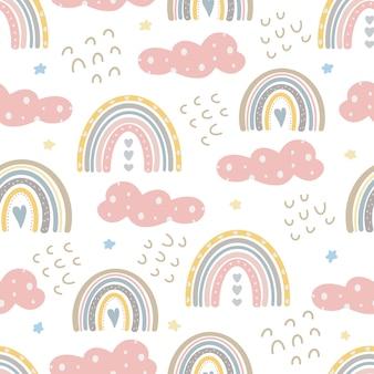 Niedliche regenbogenmuster kreativer kindlicher druck digitales papier