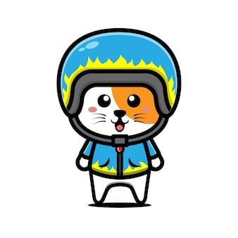 Niedliche rennkatze mit helm und jacke cartoon illustration
