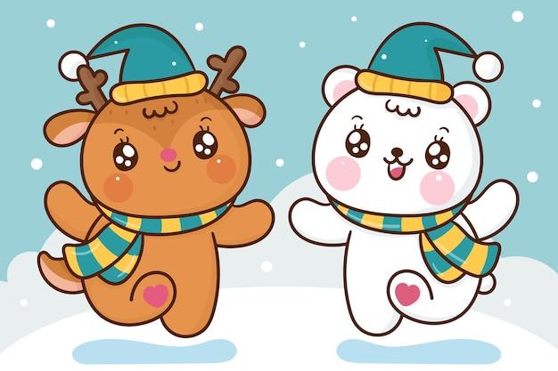 Niedliche rentier- und eisbärenkarikatur tanzen im schnee
