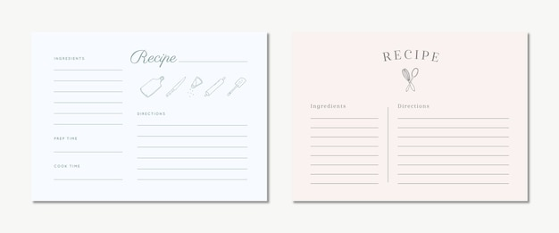 Niedliche rezeptkarten mit hand gezeichnet