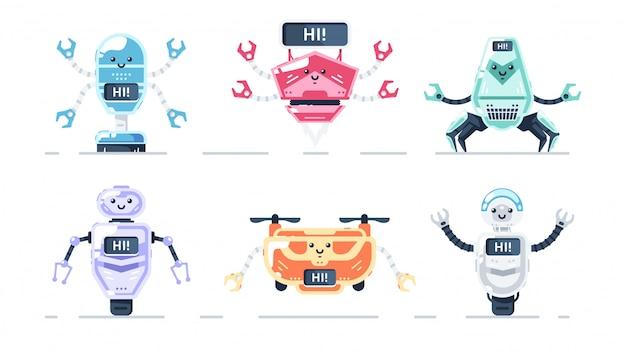 Niedliche roboter gesetzt isoliert. bunter cartoonbot für kinder. roboterspielzeugsammlung. lustige einfache charaktere. urban moderne vorlage. retro vintage design. realistische objekte. flache artillustration.