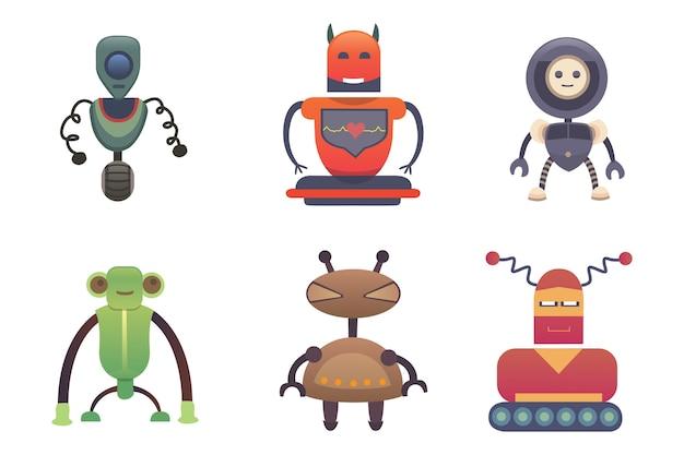 Niedliche roboter stellen sie roboterillustration eps ein
