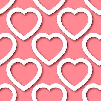 Niedliche romantische papierschnittherzen auf nahtlosem grenzmuster des rosa hintergrunds.