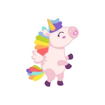 Niedliche rosa baby-einhorn-zeichentrickfigur mit regenbogenmähne und schwanz