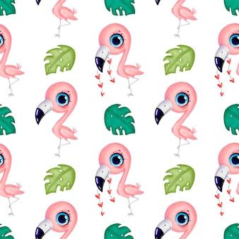 Niedliche rosa flamingos der karikatur mit nahtlosem muster der herzen und der tropischen blätter. nahtloses muster der tropischen vögel. dschungeltiermuster.
