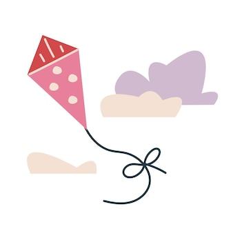 Niedliche rosa schlange mit tupfen. vektordruck für kinder. fliegen in den himmel vor dem hintergrund der wolken. minimalismus oder druck. kinderillustration, die im park lokalisiert auf weißem clipart spielt