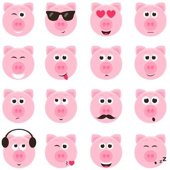 Niedliche rosa schweine mit verschiedenen emotionen eingestellt