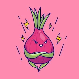 Niedliche rote zwiebel maskottchen illustration vektor-cartoon-symbol