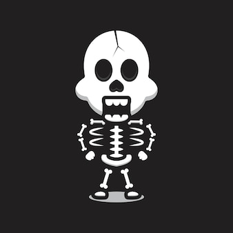 Niedliche schädel maskottchen charakter cartoon vektor icon illustration. design isoliert auf schwarz. flacher cartoon-stil.