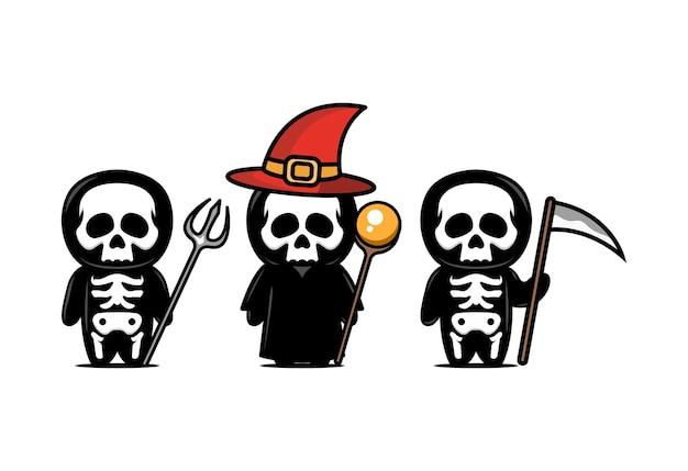 Niedliche schädelmaskottchen-designillustration mit halloween-themenset