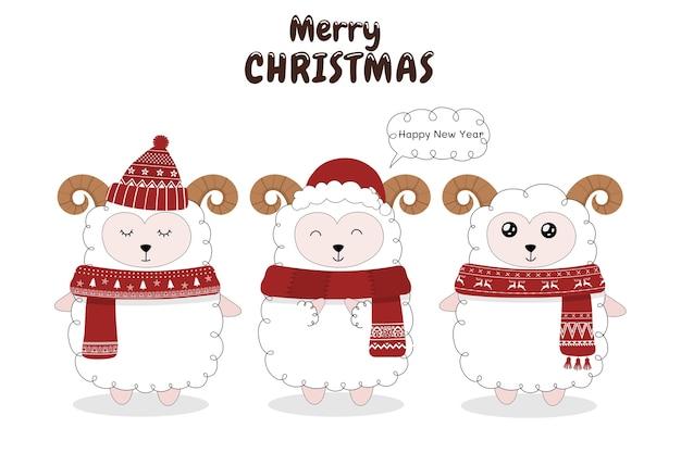 Niedliche schafe feiern weihnachten.