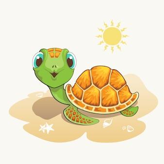 Niedliche schildkröte-cartoon am strand