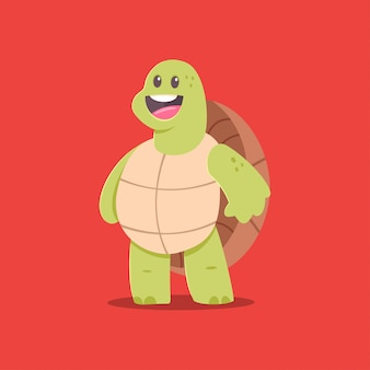Niedliche schildkröte-cartoon-figur