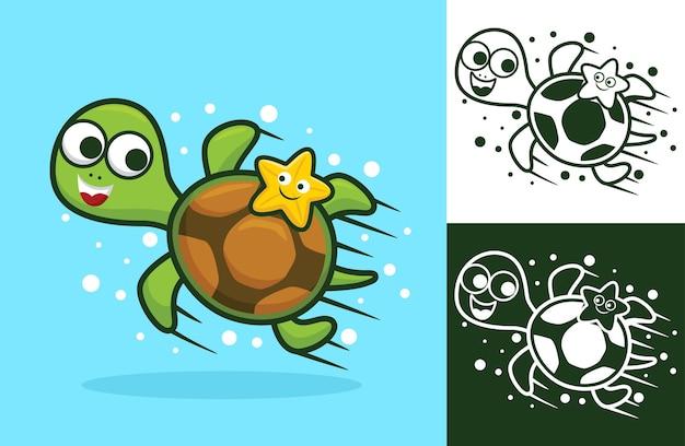 Niedliche schildkröte mit kleinen seesternen. karikaturillustration im flachen ikonenstil