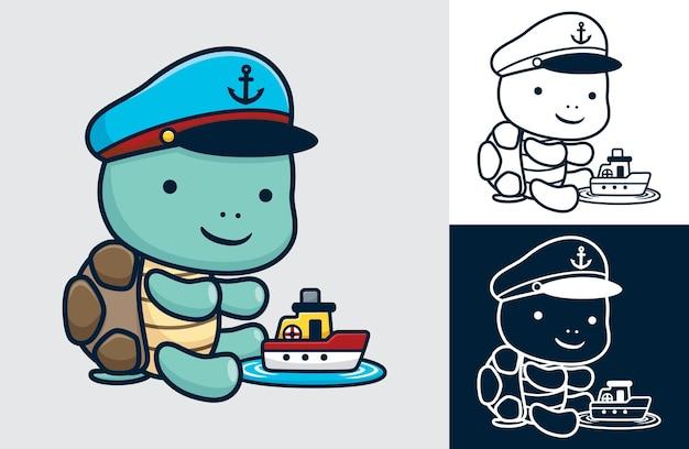 Niedliche schildkröte mit matrosenhut mit einem kleinen boot. cartoon-illustration im flachen stil