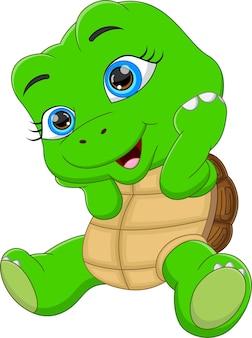 Niedliche schildkrötenkarikatur posiert auf weißem hintergrund