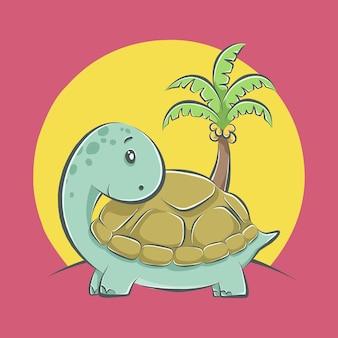 Niedliche schildkrötenkarikaturikonenillustration