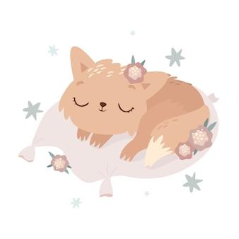 Niedliche schlafende katze illustration