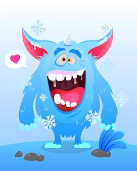 Niedliche schnee-monster-eis-illustration