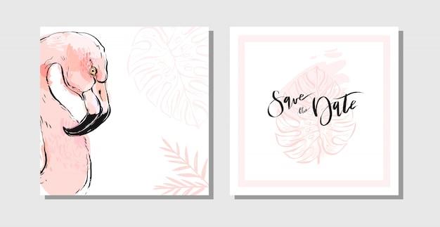 Niedliche schöne weibliche save the date karten set sammlung vorlage mit paradies vogel flamingo ameise exotische palmblätter in pastellfarben isoliert auf weißem hintergrund