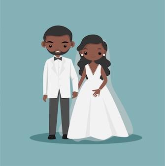 Niedliche schwarze afroamerikanische braut- und bräutigampaar-zeichentrickfigur