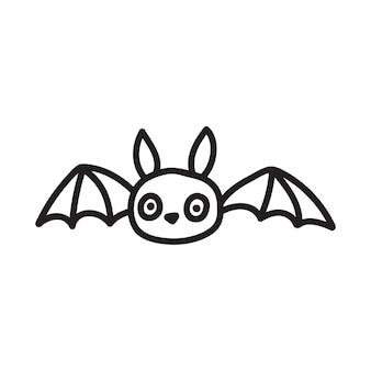 Niedliche schwarze fledermäuse gezeichnet in doodle-stil schwarze silhouette vektorgrafik isoliert auf weißem hintergrund