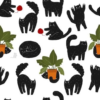 Niedliche schwarze spielende haustierkatze nahtlose muster kawaii halloween tier scary katze maus und pflanze
