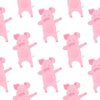 Niedliche schwein-comicfiguren. schweinchen. lustiges tier nahtloses muster.