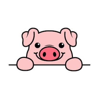 Niedliche schweinepfoten über wand