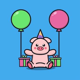 Niedliche schweingeburtstagsfeier mit geschenk- und ballonkarikaturillustration