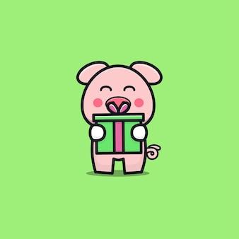 Niedliche schweingeburtstagsfeier