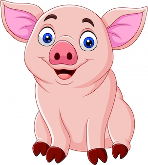 Niedliche schweinkarikatur