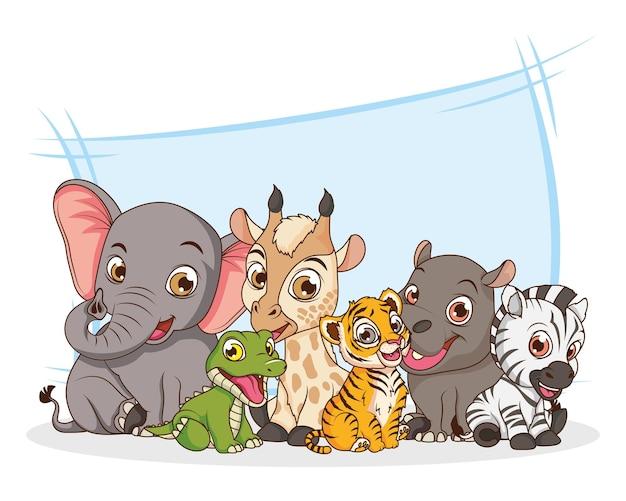 Niedliche sechs tierbabys zeichentrickfiguren