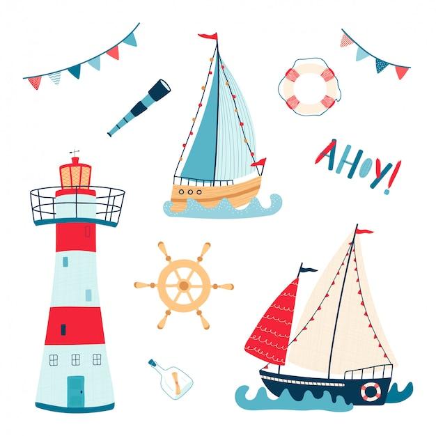 Niedliche seesammlung mit segelboot, leuchtturm, rettungsring, teleskop, lenkrad lokalisiert auf weißem hintergrund