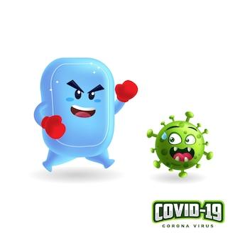Niedliche seife, die wieder coronavirus im isolierten weißen hintergrund kämpft.