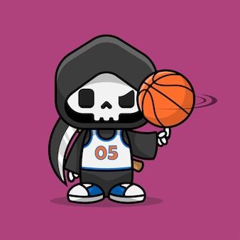 Niedliche sensenmann-zeichentrickfigur, die basketball mit der einheitlich nummerierten null-fünf-illustration spielt