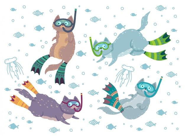 Niedliche set-kollektionen mit schwimmenden katzen, umgeben von fischen und quallen. katzentauchen in flossen und maske.