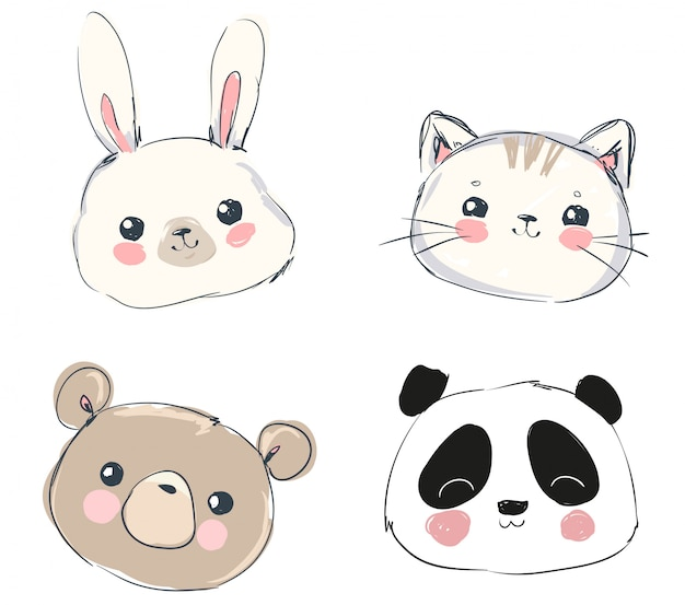 Niedliche set tiere, handgezeichnete niedlichen kaninchen, bär, panda und katze.