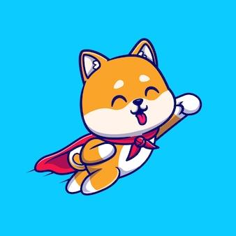 Niedliche shiba inu hund super flying cartoon illustration. tiernaturkonzept isoliert. flacher cartoon-stil