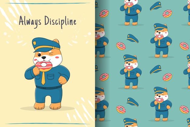 Niedliche shiba inu polizei, die nahtloses muster und illustration des donuts isst