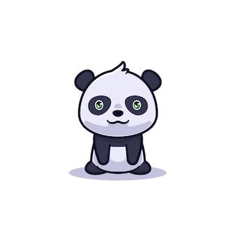 Niedliche sitzende panda-charakterillustration
