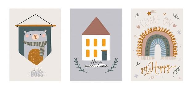 Niedliche skandinavische zeichensätze für kinder mit trendigen zitaten und coolen dekorativen handgezeichneten elementen für tiere. cartoon gekritzelillustration für babyparty, kinderzimmerdekor, kinder