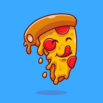 Niedliche slice pizza cartoon vektor icon illustration. lebensmittel-objekt-symbol-konzept isoliert premium-vektor. flacher cartoon-stil
