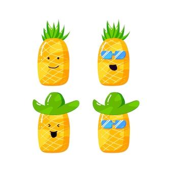 Niedliche sommer-ananas-karikaturfigur mit flachem handgezeichnetem stil