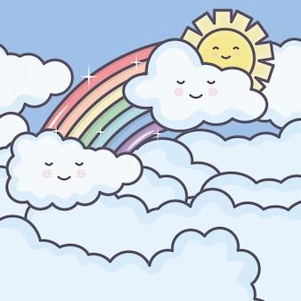 Niedliche sommersonne und -wolken mit regenbogen kawaii charakteren