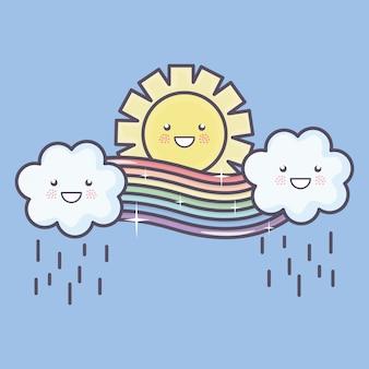 Niedliche sommersonne und -wolken regnerisch mit regenbogen kawaii charakteren